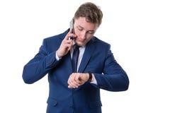 Homem de negócios ocupado Fotos de Stock Royalty Free