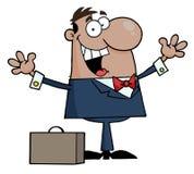 Homem de negócios preto feliz Fotografia de Stock Royalty Free