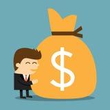 Homem de negócios que abraça um saco de dinheiro Fotos de Stock