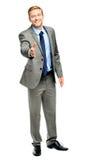 Homem de negócios que agita as mãos isoladas no branco Imagens de Stock