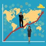 Homem de negócios que anda em um gráfico Fotografia de Stock Royalty Free