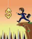 Homem de negócios que dá a mão para manter o dólar Foto de Stock Royalty Free