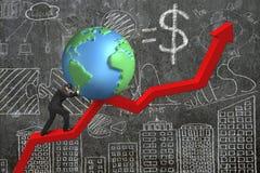 Homem de negócios que empurra o globo no ponto de partida da carta da tendência com doo Imagens de Stock Royalty Free