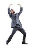 Homem de negócios que empurra obstáculos virtuais Foto de Stock Royalty Free