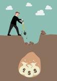 Homem de negócios que escava uma terra para encontrar um tesouro Imagem de Stock Royalty Free