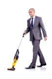 Homem de negócios que faz a limpeza no branco Imagens de Stock Royalty Free