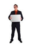 Homem de negócios que prende o cartão em branco Imagem de Stock Royalty Free