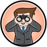 Homem de negócios que procura com binocular Imagens de Stock