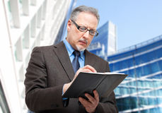 Homem de negócios que toma notas em sua agenda Imagem de Stock