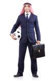 Homem de negócios árabe com futebol Foto de Stock Royalty Free