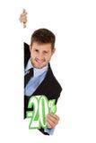 Homem de negócios, sinal de um disconto de vinte por cento Foto de Stock Royalty Free