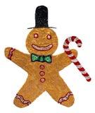 Homem de pão-de-espécie do Natal com jogador Imagem de Stock Royalty Free