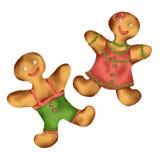 Homem de pão-de-espécie, cookie do pão-de-espécie do Natal, isolada no fundo branco, ano novo ilustração stock