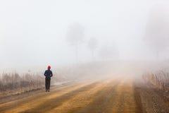 Homem de passeio da estrada de exploração agrícola da névoa Imagem de Stock Royalty Free