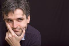 Homem de pensamento com barba curta Fotografia de Stock Royalty Free