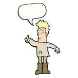 homem de pensamento positivo dos desenhos animados nos panos com bolha do discurso Imagens de Stock Royalty Free