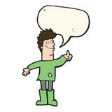 homem de pensamento positivo dos desenhos animados nos panos com bolha do discurso Imagem de Stock Royalty Free