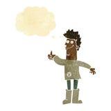 homem de pensamento positivo dos desenhos animados nos panos com bolha do pensamento Imagem de Stock Royalty Free