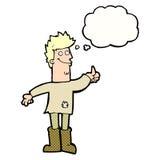 homem de pensamento positivo dos desenhos animados nos panos com bolha do pensamento Imagens de Stock