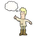 homem de pensamento positivo dos desenhos animados nos panos com bolha do pensamento Fotografia de Stock Royalty Free