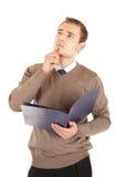Homem de pensamento well-dressed novo com originais Fotos de Stock Royalty Free