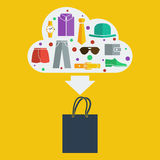 Homem de saco de compras do vetor Imagem de Stock
