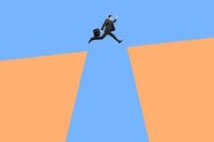 Homem de salto acima dos penhascos ilustração royalty free