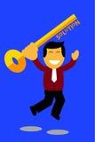 Homem de salto que guarda uma chave, ilustração para encontrar a solução Imagem de Stock