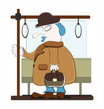 Homem de sono com a mala de viagem no transporte Imagem de Stock
