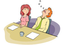 Homem de sono da reunião do quadro ilustração royalty free