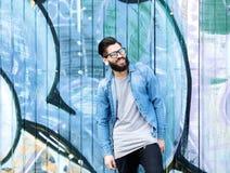 Homem de sorriso com barba e vidros Imagem de Stock Royalty Free