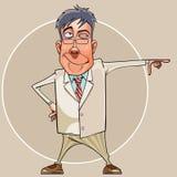 Homem de sorriso dos desenhos animados em um terno e nos vidros que mostram sua mão para Foto de Stock Royalty Free