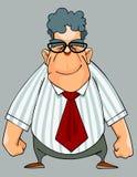 Homem de sorriso dos desenhos animados em uma camisa e em um laço que estão com seus punhos Fotografia de Stock