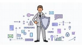 Homem de sorriso no terno de negócio com um protetor entre símbolos digitais e do Internet da segurança Proteção de dados pessoal ilustração royalty free