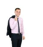 Homem de sorriso novo no código de vestimenta do negócio no fundo branco foto de stock royalty free
