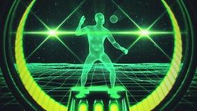 homem de Wireframe da água do verde 3D no fundo do movimento do laço do Cyberspace VJ ilustração do vetor
