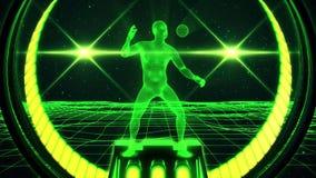 homem de Wireframe do verde 3D no fundo V2 do movimento do laço do Cyberspace VJ ilustração do vetor