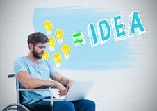 Homem deficiente na cadeira de rodas com os gráficos coloridos da ideia Foto de Stock