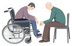 Homem deficiente que senta-se na cadeira de rodas ilustração royalty free