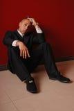 Homem deprimido com injetor. Foto de Stock Royalty Free
