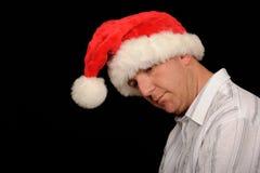 Homem deprimido do Natal Fotos de Stock Royalty Free