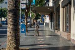 Homem desabrigado, caminhada da fama, bulevar de Hollywood de Hollywood fotografia de stock