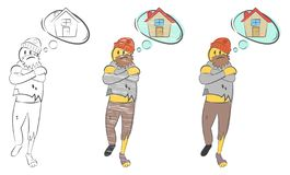 Homem desabrigado com sonhos rasgados da roupa sobre a casa Problemas do conceito da pessoa desabrigada A caminhada procura o ref ilustração stock