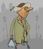 Homem desabrigado dos desenhos animados em um revestimento esfarrapado com saco à disposição Fotos de Stock