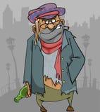 Homem desabrigado dos desenhos animados na roupa áspera com uma garrafa e um cigarro Fotografia de Stock