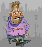 Homem desabrigado dos desenhos animados que implora pelo dinheiro na rua Imagem de Stock Royalty Free