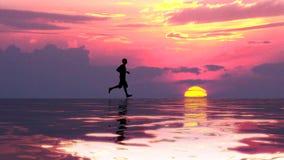 Homem desportivo que corre na água ilustração do vetor