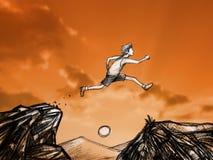 homem digital abstrato da tração que salta sobre entre uma sagacidade de duas montanhas foto de stock royalty free