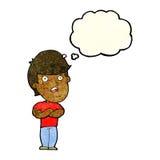 homem dissapointed desenhos animados com bolha do pensamento Foto de Stock
