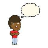 homem dissapointed desenhos animados com bolha do pensamento Imagens de Stock Royalty Free
